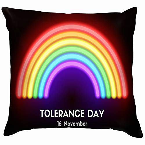 Tolerance Day Card Neon Glowing Holidays Rainbow Throw Pillows Covers Accent Home Sofa Cushion Cover Pillowcase Gift Decorative 24X24 Inch]()