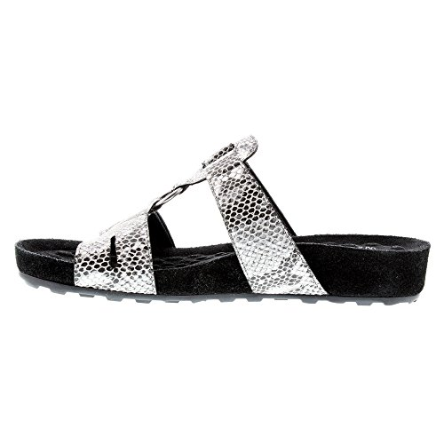 X WIDE Black Silver and sandals Print Women's Silver Cradles 9 Penny Snake Walking Black vHZqgwzxa