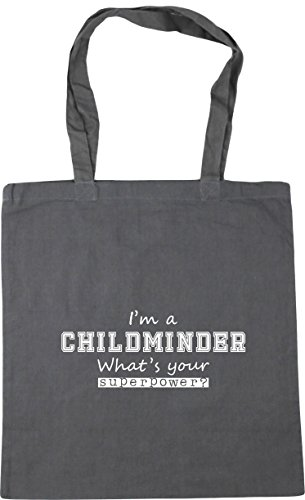 Graphite Childminder Shopping A litres HippoWarehouse Your I'm Gym Superpower Bag x38cm Tote 10 Grey Beach What's 42cm wZwEfq0