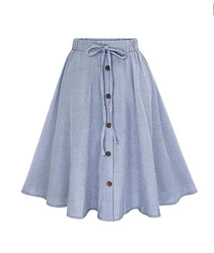 - Women Stripe Front Button Lace Up High Waist Plain Skater Flared Skirt Blue