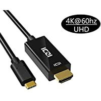 USB C to HDMI Cable (6ft/1.8M), ICZI USB 3.1 Type C (Thunderbolt 3 Compatible) to HDMI 4K@60Hz Adapter Cable for 2016 MacBook Pro, ChromeBook Pixel, Samsung Galaxy S8/S8 Plus and More Type C Devices