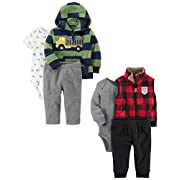 Carter's Baby Boys' 6-Piece Jacket and Vest Set, Truck/Buffalo Check, 6 Months