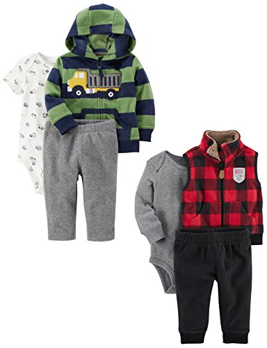 Boys Long Sleeved Fleece Pant - Carter's Baby Boys' 6-Piece Jacket and Vest Set, Truck/Buffalo Check, 3 Months