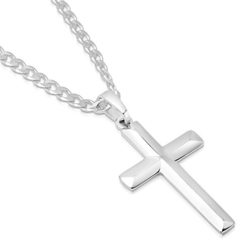 XP Jewelry Men's Sterling Silver Cross Pendant Curb Link Chain Necklace Italian Made - 080-3mm - 26