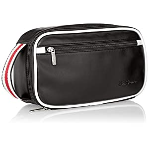 Ben Sherman Men's Regent's Park Smooth Pvc Bucket Style Single Compartment Zip Around Travel Kit, Black/White