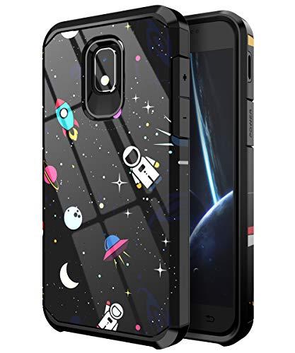 PBRO Phone Case for Samsung Galaxy J3 2018,Galaxy J3 Achieve Case,Galaxy J3 Star Case,Galaxy Express/Amp Prime 3 Case,Galaxy J3 V 3rd Gen Case,Cute Astronaut Case Dual Layer Protective Space/Black