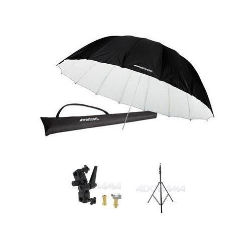 Westcott 7 Feet Parabolic Umbrella, White/Black Bundle with Umbrella Bracket/Adjutsable Flash Mount, 8.5' Black Lightstand by Westcott