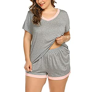 IN'VOLAND Women's Plus Size Pajama Set V-Neck Sleepwear Short Sleeve Pajamas Soft Pj Set Nightwear Set 16W-24W