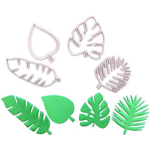 Alexless 4Pcs Tropical Leaf Cookie Cutters Palm Leaves Cake Decotation Molds for Baby Birthday Wedding Party Supplies