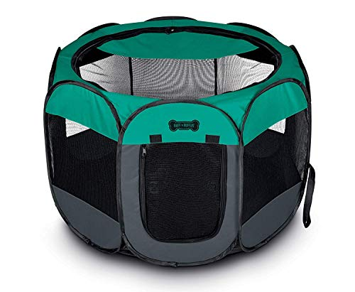 """Ruff 'n Ruffus Portable Foldable Pet Playpen + Carrying Case & Collapsible Travel Bowl (Extra Large (48"""" x 48"""" x 23.5"""")) (Large (36"""" x 36"""" x 23"""") with Free Bonus, Aqua)"""
