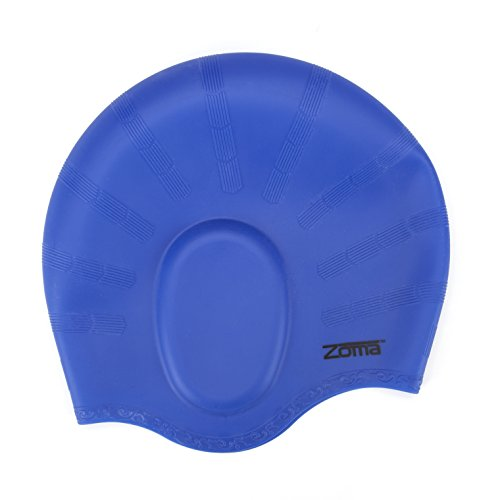 Swim Cap for Women and Men with Average or Large Heads - Great for Adults, Older Kids, Boys and Girls - FREE Nose Clip (Deep Blue)