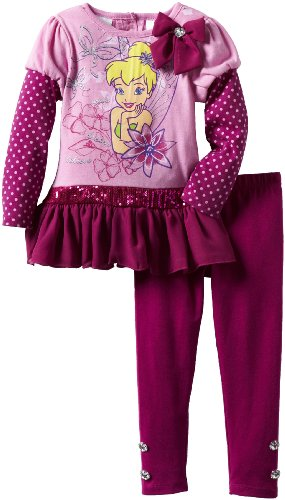 Disney Little Girls' Toddler 2 Piece Tinkerbell Legging Set, Purple - Light/Pastel, 2T