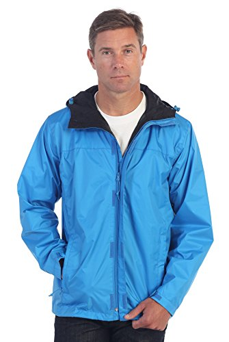 (Gioberti Men's Waterproof Rain Jacket, Turquoise, XL)