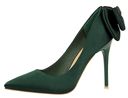 Las Mujeres De Estilo Elegante Elegante De Tacón De Aguja De Corte Alto De Tacón Alto Con Punta Afilada Del Partido De Sandalia Slip On Bombas Zapatos Con Arco Verde Oscuro