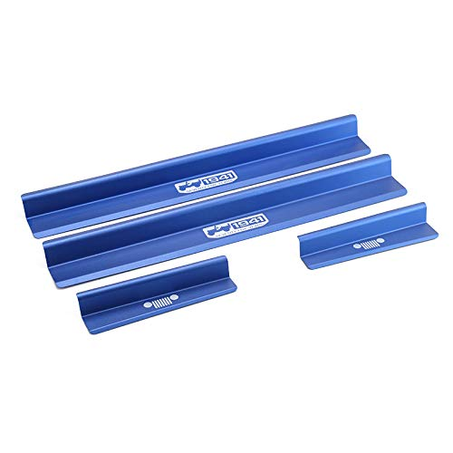 Highitem New One Set of 4 Pcs Aluminum Alloy Front & Rear Door Sill Protector Cover Scuff Plate Entry Guards for 2007-2016 Jeep Wrangler JK 4 Door (Blue)