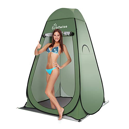 WolfWise Easy Pop Up Privacy Shower Tent Portable Outdoor Sun Shelter Camp Toilet Changing Dressing Room ()