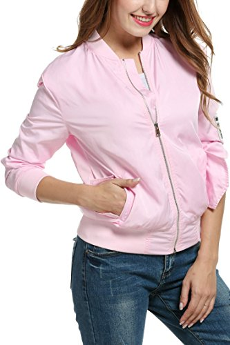 Meaneor Womens Casual Retro Classic Biker Jacket Button Solid Letterman Bomber Jacket Style 2 Pink