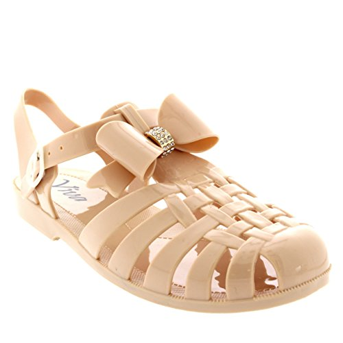 Womens Jelly Shoes Festival Beach Buckle Diamante Bow Gladiator Sandals - Nude - 9 - 40 - CD0097