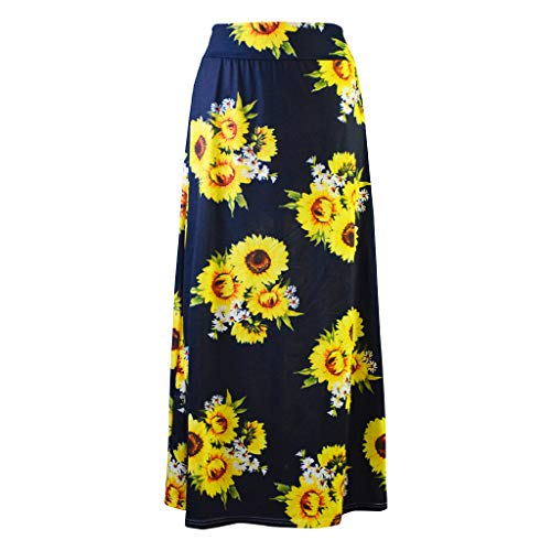 Panty Bras Lace Leather N - WOCACHI Womens Maxi Skirts, Ladies Loose Casual Boho Geometric Sunflower Printed Striped Patchwork Long Skirts 2019 New Summer Deals Under 10 Dollars Beach Sundress