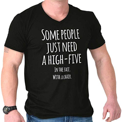 Just Need High Five Face Rude Insult Fight V-Neck Black (Carolina Chair In Companies North)