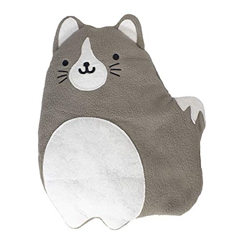 GAMAGO Fat Cat Heating Pad Huggable, Microwavable Pillow for Cramps, Aches & Anxiety Relief, Adorably Cute Heatable Pack Stuffed with Eco-Friendly Buckwheat & Dried Lavender, 10.5 Inches, Gray