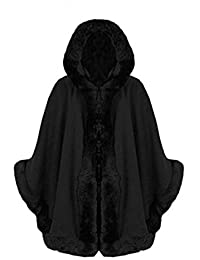 STYLE FASHION-Womens Cape Poncho Faux Fur Lined Trimmed Hooded Jacket