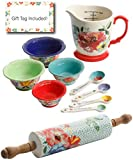 Pioneer Woman Vintage Baking Gift Set, 9 Piece Prep Set With 18.4 Inch Rolling Pin and Bonus Gift tag, Floral Design Baking tool Set, Christmas Gift Idea, Vintage Kitchen and Baking Tools Essentials