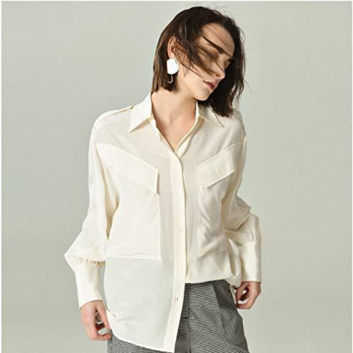 A Basica Sciolta Di Tuta Manica Camicia Top Blusa Seta Bianca Lunga Xcxdx IORYq8w