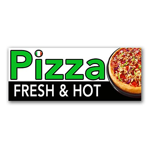 Fresh and Hot Pizza Vinyl Banner 5 Feet Wide by 2 Feet ()