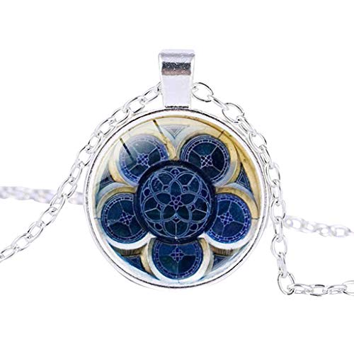 scamper Womens Necklace Rose Window Stained Glass Notre Dame de Paris Cathedral Pendant Chain Women Mother Jewelry ()