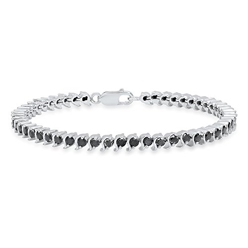 Dazzlingrock Collection 3.65 Carat (ctw) Round Cut Black Diamond Ladies Tennis Bracelet, Sterling Silver