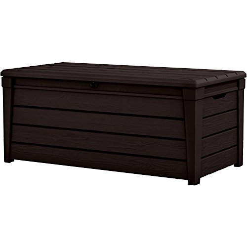 Resin Storage Bench Patio Storage Deck Box Rectangular Plastic Big Brown Color Large Lawn Garden Backyard Weatherproof Resistant Seat Slatted Design & eBook by Easy&FunDeals by EFD