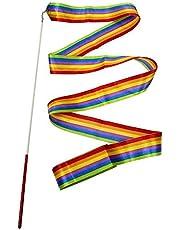 شرائط رياضية ملونة 4M شريط رقص فن إيقاعي جمباز باليه، عصا دوارة لرياضة الجمباز للتدريب الاحترافي