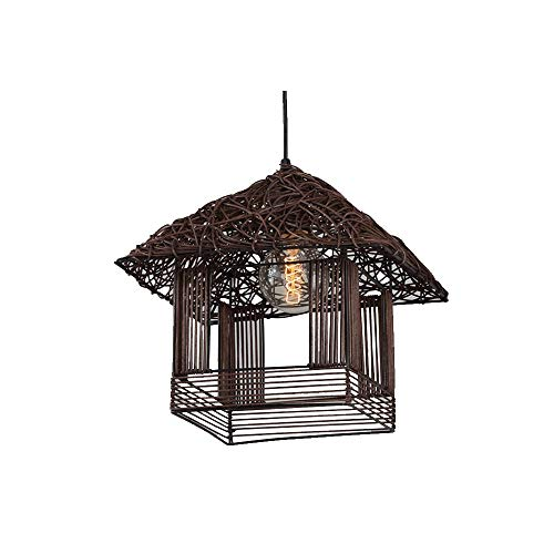 GL-63841, Natural Rattan Knitted Pendant Light Fixtures, Coastal Beach Hand-Woven Rattan Chandelier, Suspension Lamps for Bedroom Hallway Balcony, Coffee