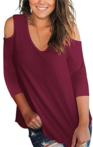 (SLIMMING GRIL Women T Shirt Plain 3/4 Sleeve Cold Shoulder Tops V Neck Blouse Burgundy XL)