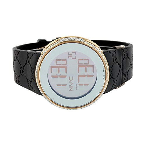Mens I Gucci Watch YA114209 Digital Rubber Band Real 2CT White Diamond