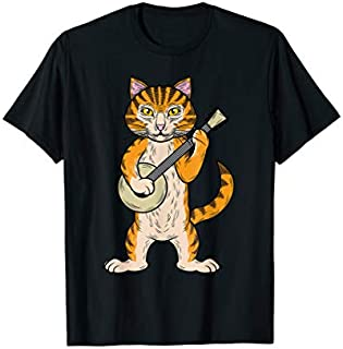 Funny Retro Style Bluegrass & Tabby Cat Banjo String Player T-shirt | Size S - 5XL