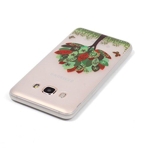 [Extremadamente Delgada] Funda 3D Silicona Transparent para Samsung Galaxy J5 (2016) J510 , Funda TPU Ultra Slim para Samsung Galaxy J5 (2016) J510 , TOCASO Case Fina Slim Fit Cristal Clear, Noctiluce Árbol y Mariposas