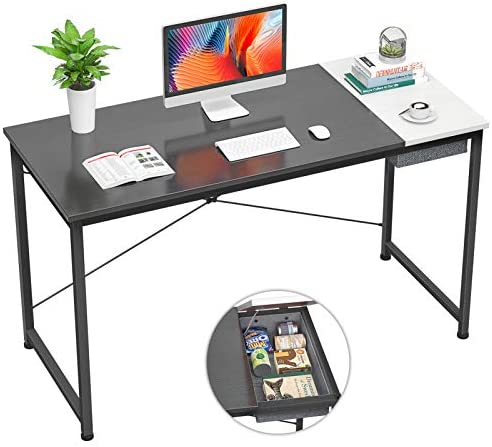 Foxemart Computer Desk, 47 Inch Study Writing Desk for Home Office Workstation, Modern Simple Style Laptop Table with Storage Bag/Drawer, Black and White