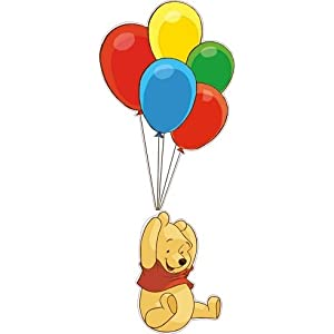 15 Inch Winnie The Pooh Bear Balloons Disney Removable Peel Self Stick Adhesive Vinyl Decorative Wall Decal Sticker Art Kids Room Home Decor Girl Boy Children Bedroom Nursery Baby 6 x 15 Inch (2Pcs)