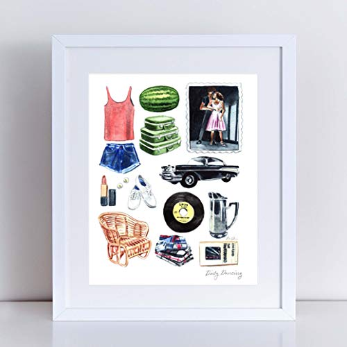 Dirty Dancing Art Print Watercolor Painting Wall Home Decor Dirty Dancing Costume Dance Nobody Puts Baby in A Corner Classic Movie Pretty Preppy Canvas -