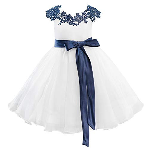 Dresslane Navy Blue Lace Ivory Organza Flower Girl Dress Kids Dress ()
