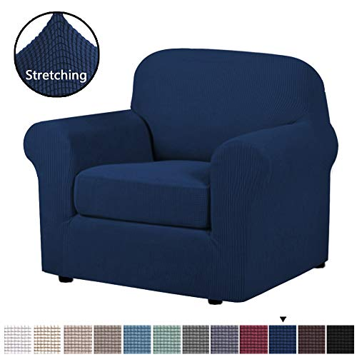 H.VERSAILTEX Stretch Chair Slipcovers Sofa Covers 2 Pieces Furniture Protector Rich Textured Lycra High Spandex Small Checks Knitted Jacquard Sofa Cover (Chair-1 Seater, Navy) (Slipcovers Chair 2 Piece)