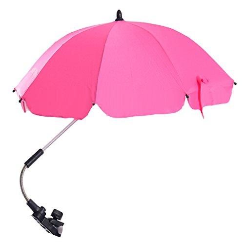Stroller Umbrella, Migavenn Adjustable Umbrella for Stroller Baby Pram Sun Shade UV Rain Protection Umbrella Parasol with Swivel Connector for Wheelchair Pushchair Accessories Pink