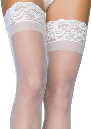 Leg Avenue Women's Thigh High Stockings with Silicone Lace Top
