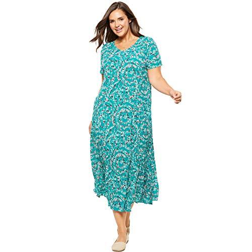 (Woman Within Women's Plus Size Crinkle Dress - Waterfall Swirl, L)