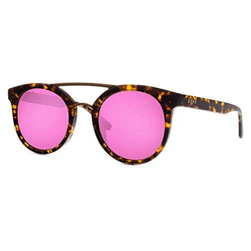 DIFF Eyewear Astro Metal Brow Bar Polarized Designer Sunglasses For Women Pink...