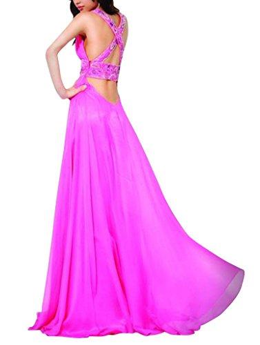 bodenlangen Lila mit Ausschnitt Applikationen Abendkleid Spalte Mantel BRIDE GEORGE Perlen V vw6WHAXcq