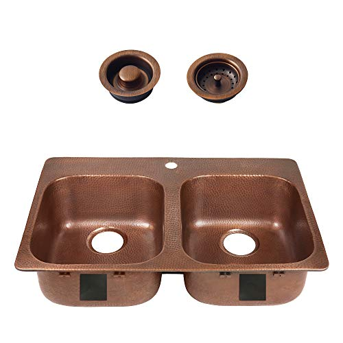 Sinkology SK104-33AC-AMZ-BD Santi Handmade Pure Solid 33 in. 1-Hole Antique Strainer Drain and Disposal Flange Double Bowl, Drop-in, Copper Kitchen Sink Kit x 22 in. x 9