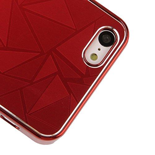 Protege tu iPhone, Revestimiento geométrico de la peladura del metal del modelo del triángulo que pela la caja plástica para el iPhone 5C Para el teléfono celular de Iphone. ( Color : Rosa ) Rojo